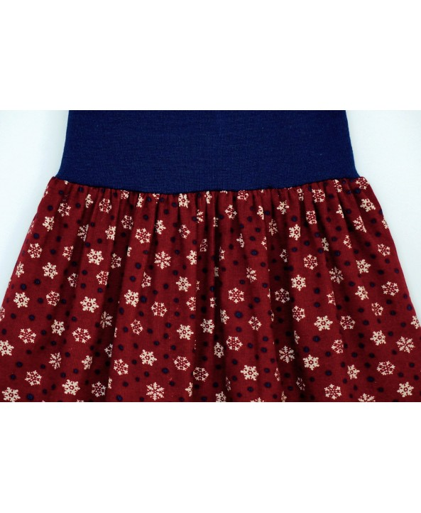 Cotton corduroy skirt 4-6 years old burgundy navy snowflakes