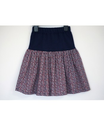 Ditsy floral Liberty print cotton corduroy skirt 5-7 years navy red