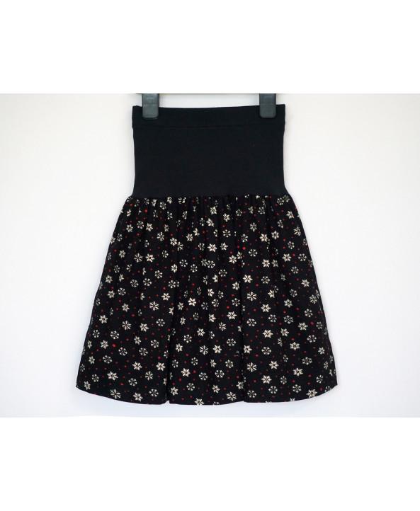 Cotton corduroy skirt 6-8 years black white red snowflakes