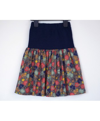 Cotton floral skirt, 4-6 years old, navy, blush, mint, yellow
