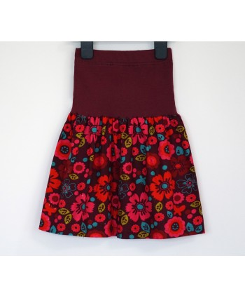 Cotton corduroy floral skirt 2-4 years burgundy, red, pink