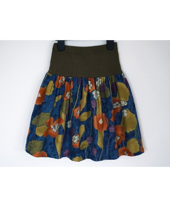 Cotton floral skirt 6-8 years old green blue orange