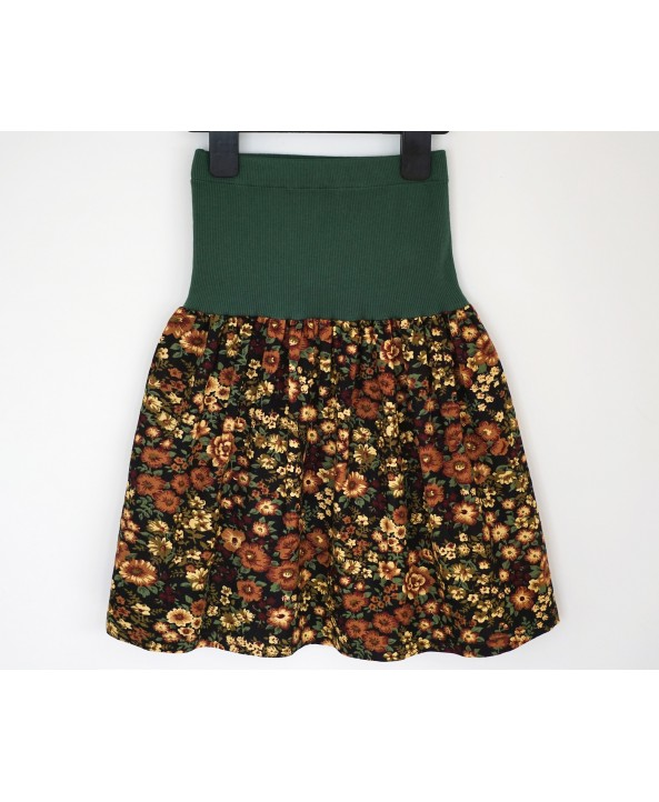 Girls Autumn Colours Corduroy skirt, 4-6 years old, elasticated waist, Green, Yellow, Brown