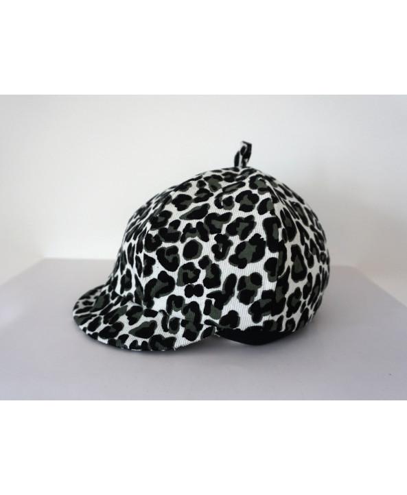 Girls 2-3 years White Black Green Cord Hat/Baret Dalmatain print Handmade in UK