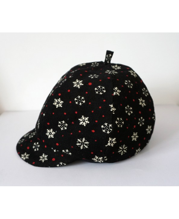 Girls 2-3 years Black Cord Hat/Baret Snowflakes dots red white Handmade UK