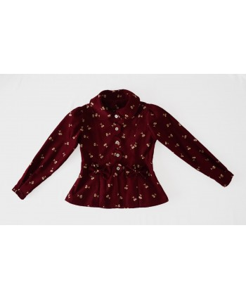 Girls 3-4 years Fancy Cord Jacket, Burgundy Cherry Print Cotton Corduroy