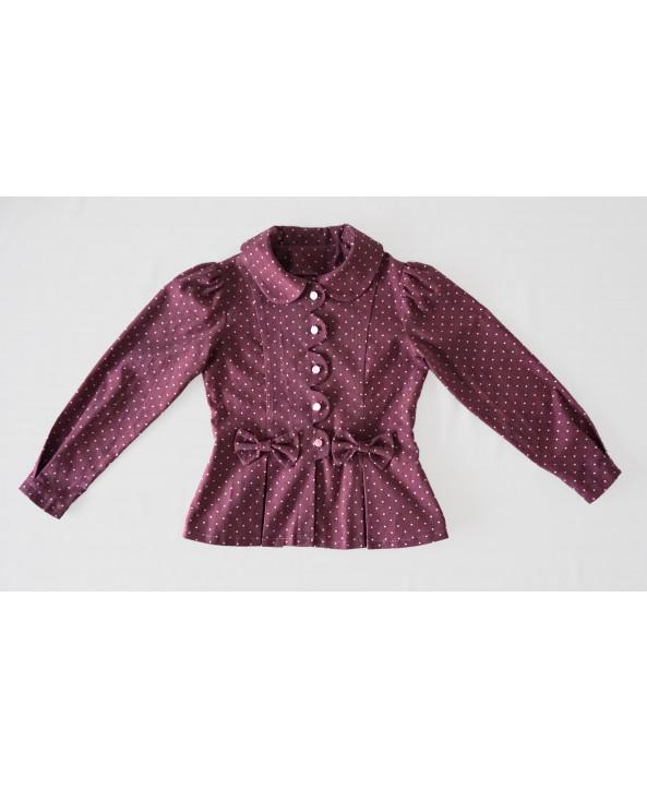 Girls 3-4 years Fancy Cord Jacket, Dusky pink Polka Dot, Cotton Corduroy, Handmade in UK