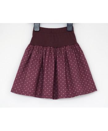 Girls 2-4 years Cord Skirt, Dusky pink polka dot, elastic waist, Handmade in UK