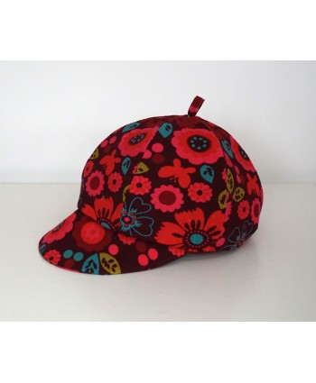 Girls 2-3 years Red-Pink-Blue Cord Hat/Baret Flowers Handmade UK Christmas Gift