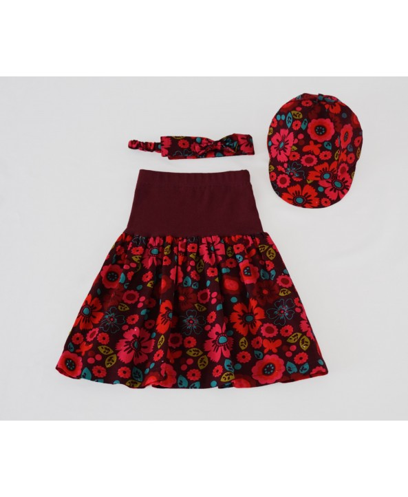 Girl 3 Piece Set - Skirt, Hat, Headband, 2-4 years Corduroy Floral
