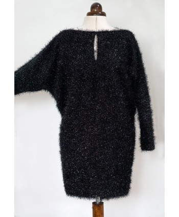 Dolman Sleeve Fancy Knit Blouson Dress Shiny Black Size M