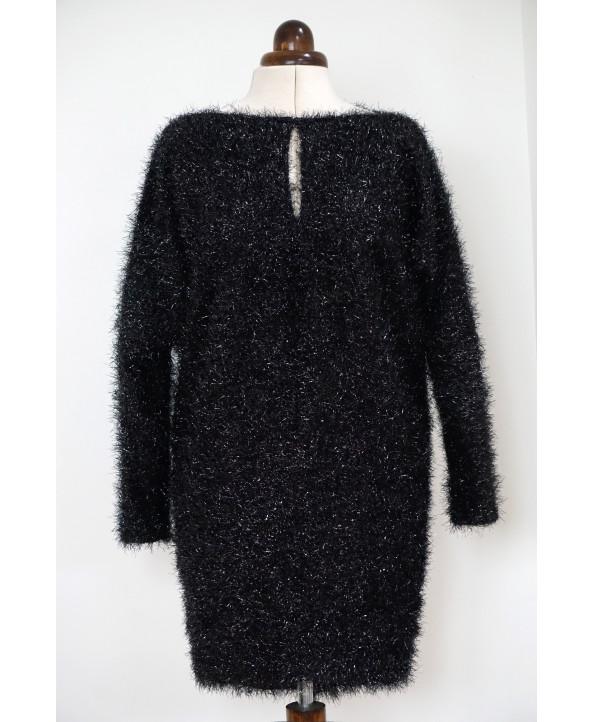 Dolman Sleeve Fancy Knit Blouson Dress Shiny Black Size M