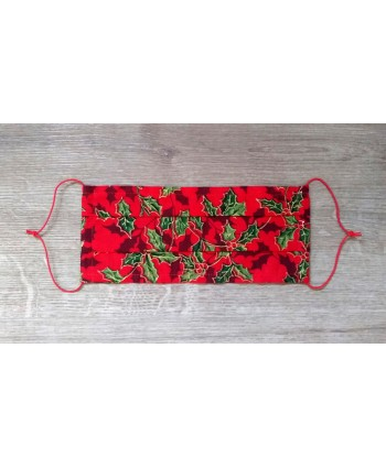 Christmas/Festive Designs Face Mask SINGLE layer Breathable Red Green Hollies print
